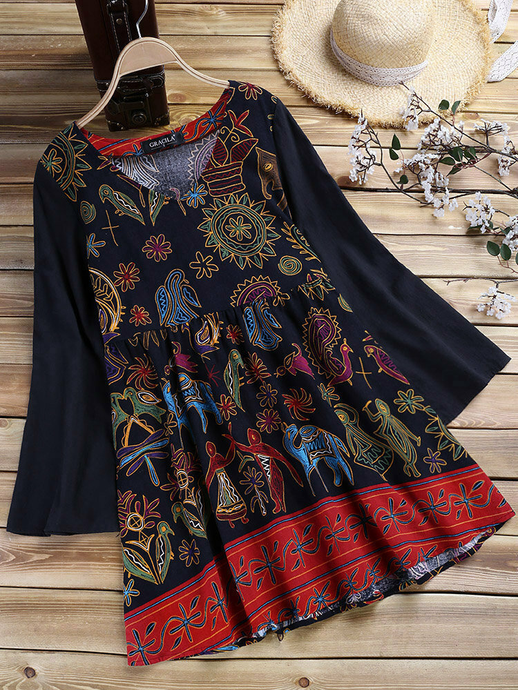 Ethnic Women Vintage Folk Style Print Patchwork Long Sleeve Blouse