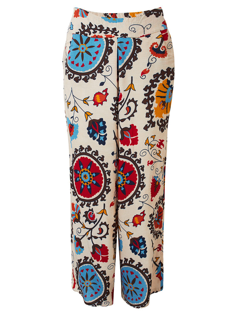 Casual Vintage Printed Linen Baggy Wide Leg Pants For Women