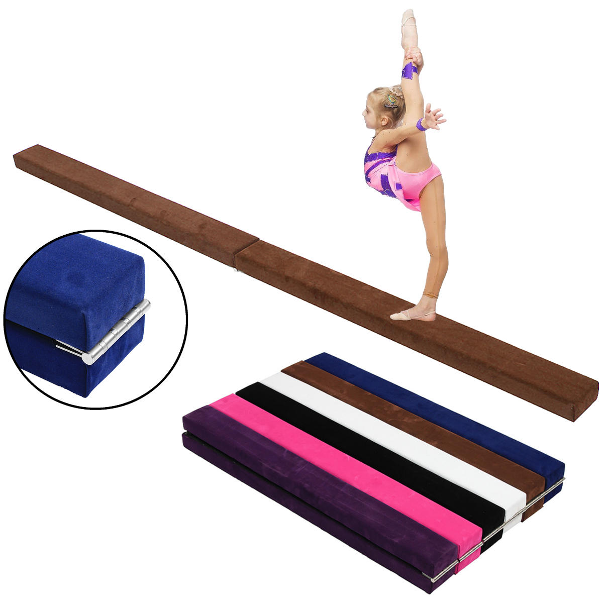 86.6x4x2.8inch Folding Balance Beam Cushion Train Mattress Gymnastics Mat Sport Pad