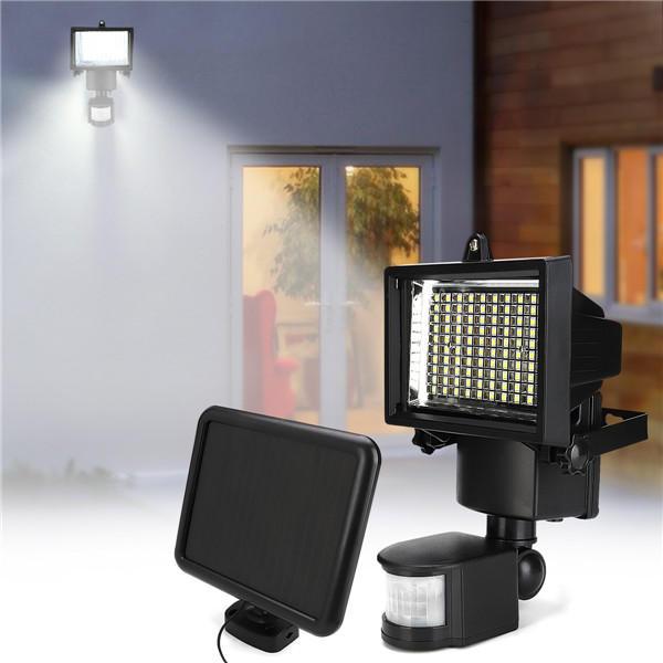 100 LED Solar Powered PIR Motion Outdoor Garden Light Security Flood Wall Lamp.