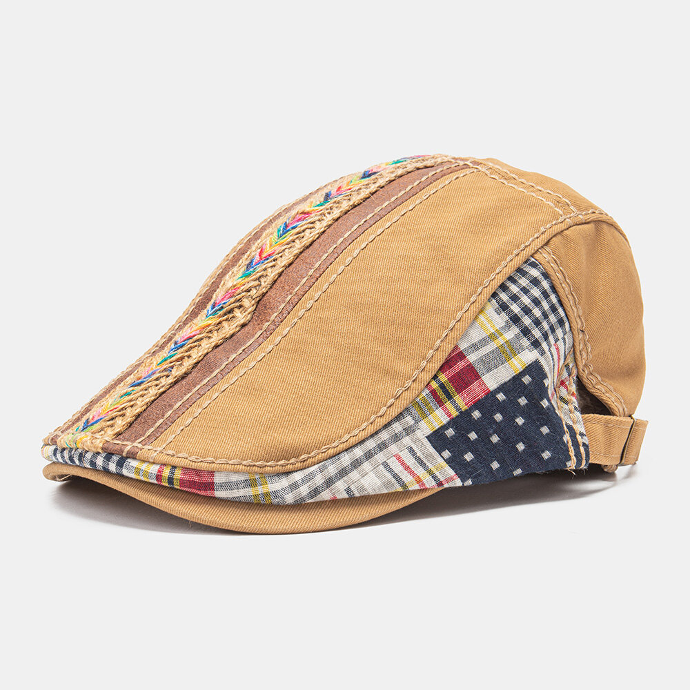 Collrown Unisex Cotton Patchwork Rainbow-colored Woven Straw Rope Decoration Casual All-match Beret Flat Cap Ivy Cap