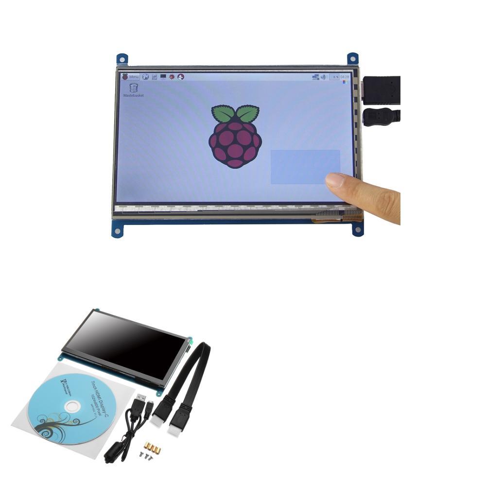 Geekcreit® 7 Pollici 1024 x 600 HD Capacitivo IPS LCD Display Supporta Raspberry pi / Banana Pi