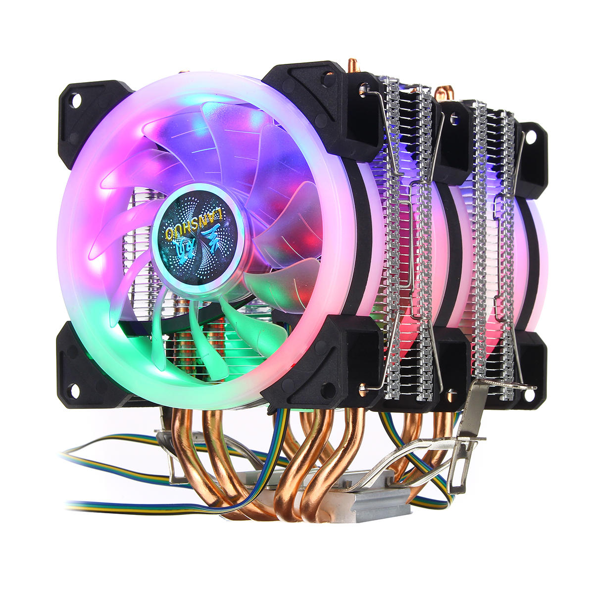4pin Three Fans 4 Heatpipes Colorful Backlit Cpu Cooling Fan Cooler Heatsink For Intel Amd Sale Banggood Com