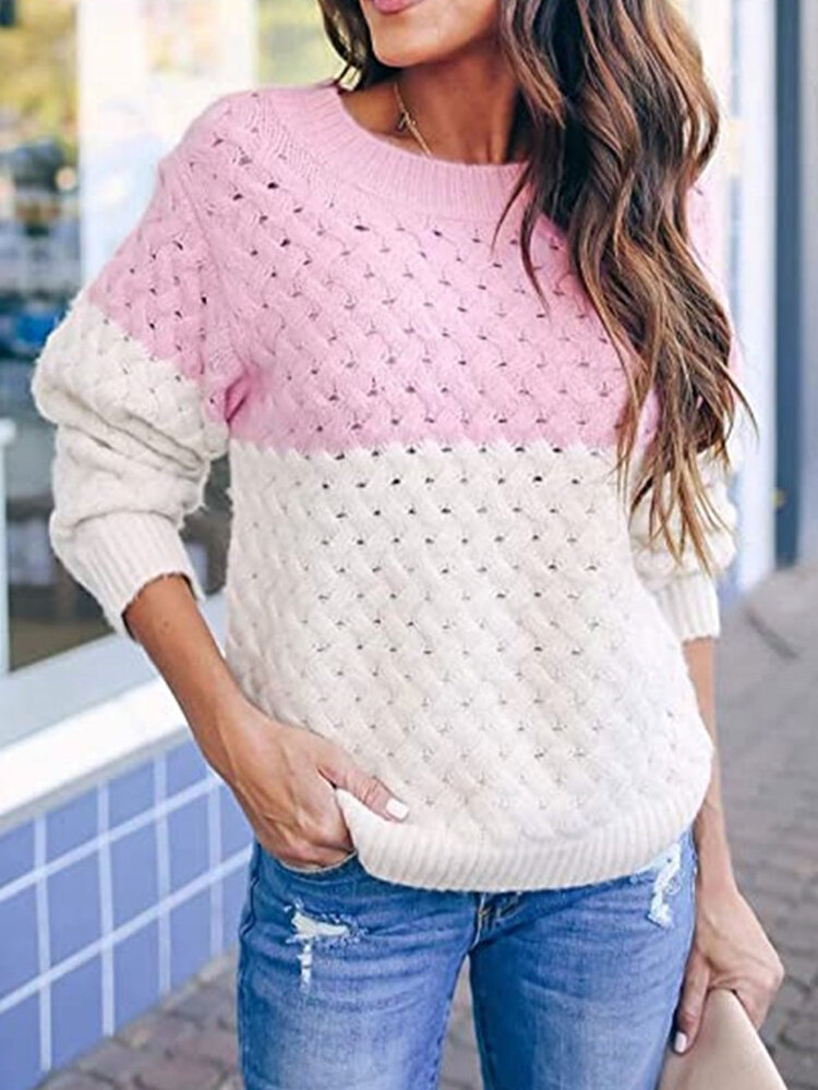 Women Colorblock Knitting Hollow Out Casual Long Sleeve Sweater