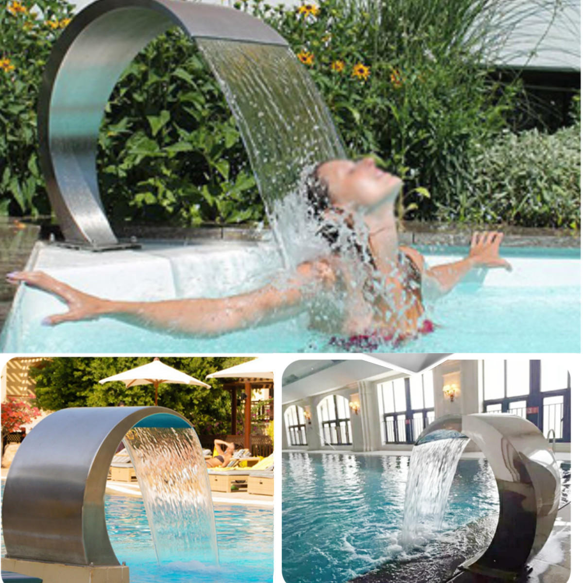 Stainless Steel Pool Fountain Swimming Garden Water Feature Waterfall Decorative Hardware Cod