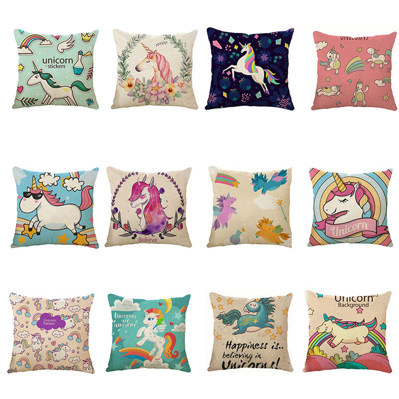 Excellent Honana 45X45Cm Home Decoration Cartoon Unicorn Animal Square 12 Optional Patterns Cotton Linen Pillowcases Sofa Cushion Cover Chair Seat Caraccident5 Cool Chair Designs And Ideas Caraccident5Info