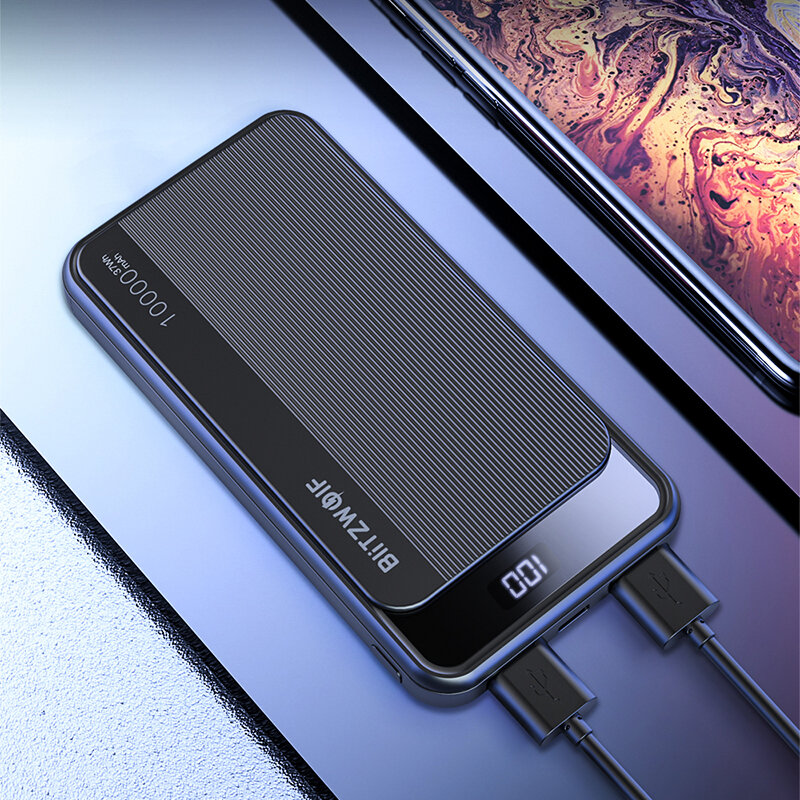 BlitzWolf® BW-P12 10000mAh 22.5W Digital Display QC3.0 PD3.0 SCP Dual Output Input Smart Power Bank for iPhone 11 Pro XR for Samsung S20 Xiaomi Huawei