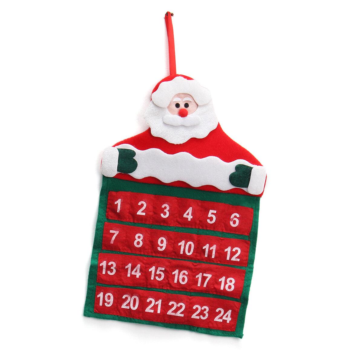 Felt Christmas Advent Wall Hanging Calendar Pockets Santa Reindeer Snowman Decorations