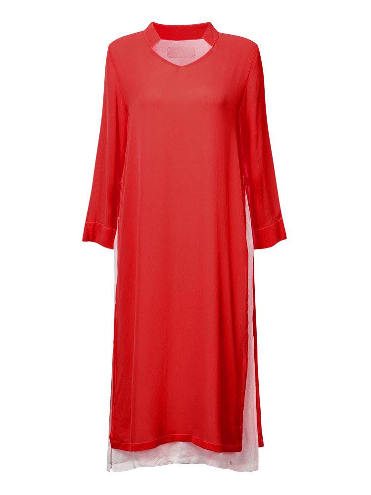 आरामदायक महिला विंटेज साइड स्प्लिट लूज लांग आस्तीन ड्रेस