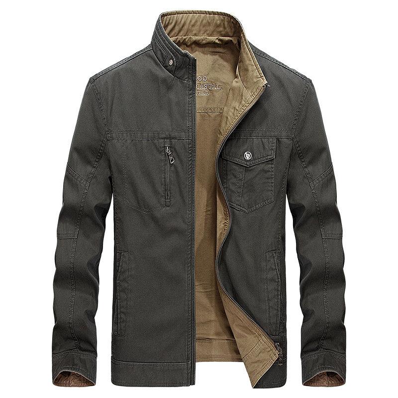 पुरुषों के लिए प्रतिवर्ती डबल पक्षीय पहनने योग्य शरद ऋतु कपास जेबें आउटडोर जैकेट