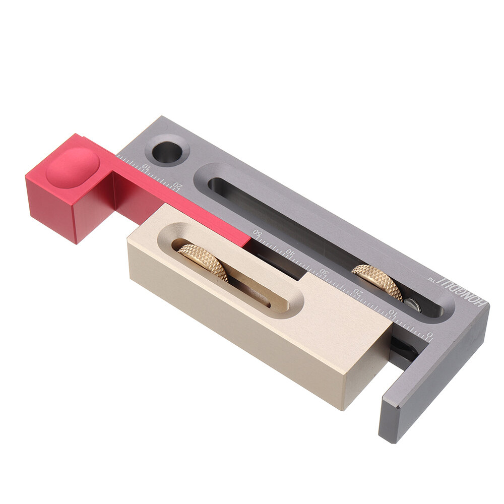 Drillpro Table Saw Slot Adjuster Tanggam dan Duri Alat Woodworking Bergerak Mengukur Blok Panjang Tenonmaker Kompensasi Router Meja Set Alat Woodworking