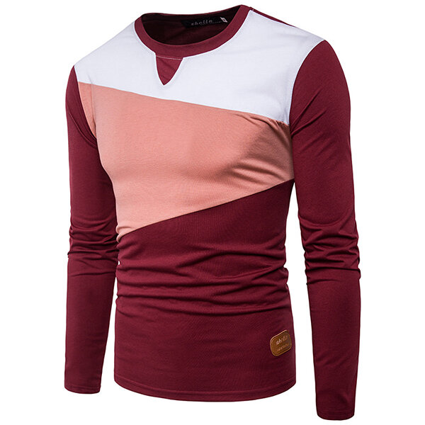 info for 2f902 6d691 Stylish Hit Color T-shirt Men's Casual O-neck Long Sleeve Tops Tees