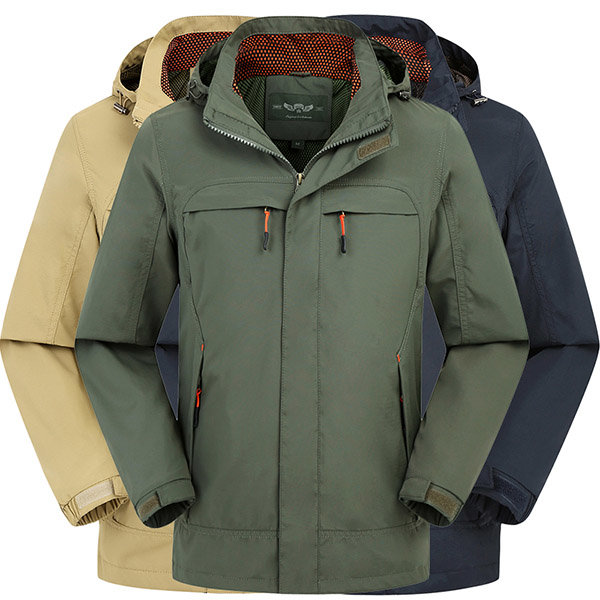 Mens Outdoor Sport Autumn Water Repellent Jacket Casual Solid Color Thin Hooded Coat