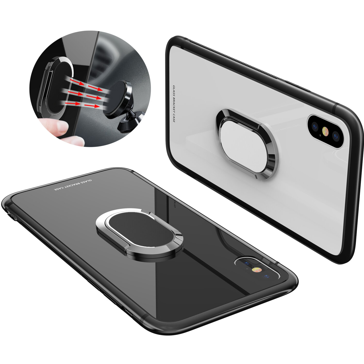Bakeey 360° Rotation Ring Kickstand Magnetic Glass Protective Case for iPhone X