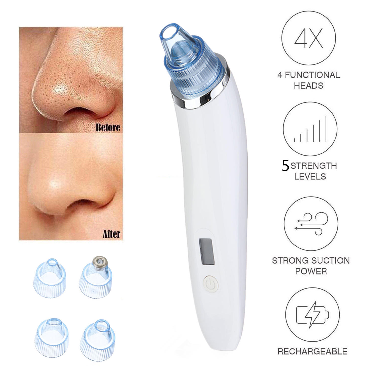Electric Blackhead Vacuum Acne Remover Cleaner Pore Remover Electric Skin Facial Cleanser Care