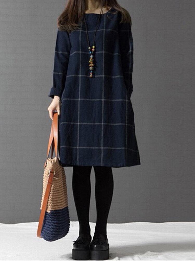 कैजुअल महिला प्लेड पॉकेट कॉटन लिनन ड्रेस
