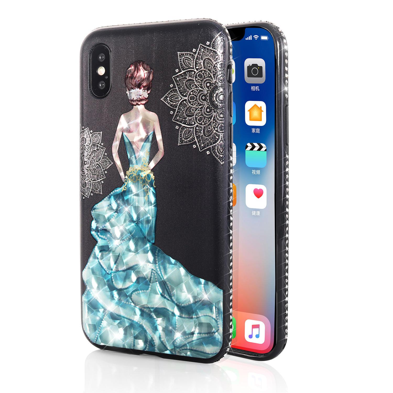 Bakeey Beskyttelsesveske til 3D Paint for iPhone X/8/8 Plus/7/7 Plus / 6s Plus/6 Plus / 6s / 6 Blå Kjole Glitter Bling
