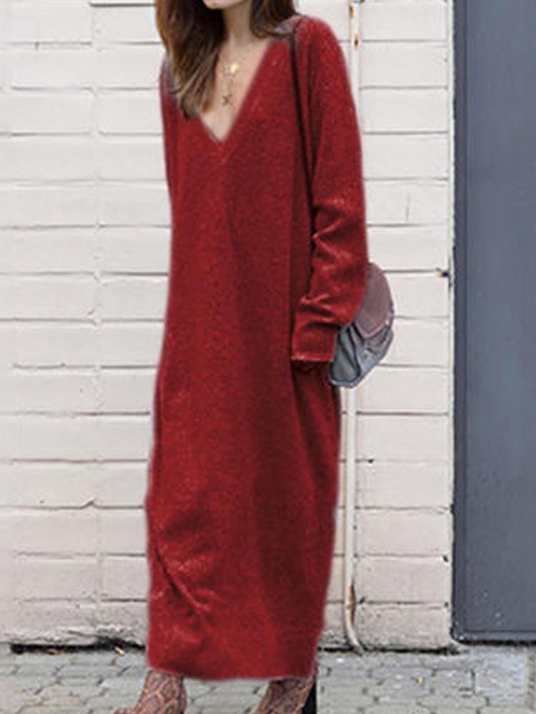Kadın Uzun Kollu V Yaka Gevşek Günlük Örgü Uzun Elbise