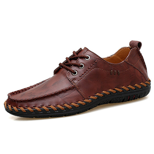 Men Genuine Leather Hand Stitching Casual Oxfords Shoes