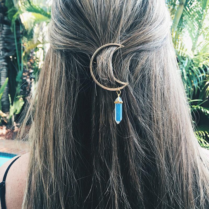 Многоцветный натуральный камень Волосы Clip Hollow Moon Шарм Волосы Аксессуары для Женское