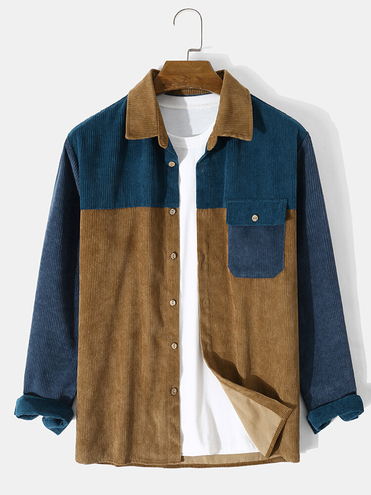Mens Corduroy Splicing Color Block Button Pocket Casual Shirt