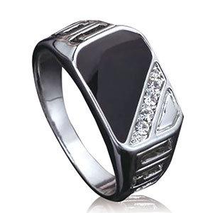 Trendy Alloy Ring Crystal Ring Rhinestone Rectangle Finger Ring for Men