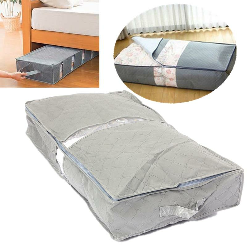IPRee® 75.6×39×12.6cm Under-Bed Organizer Under the Bed Storage Bag Box Gray for Clothes Blankets