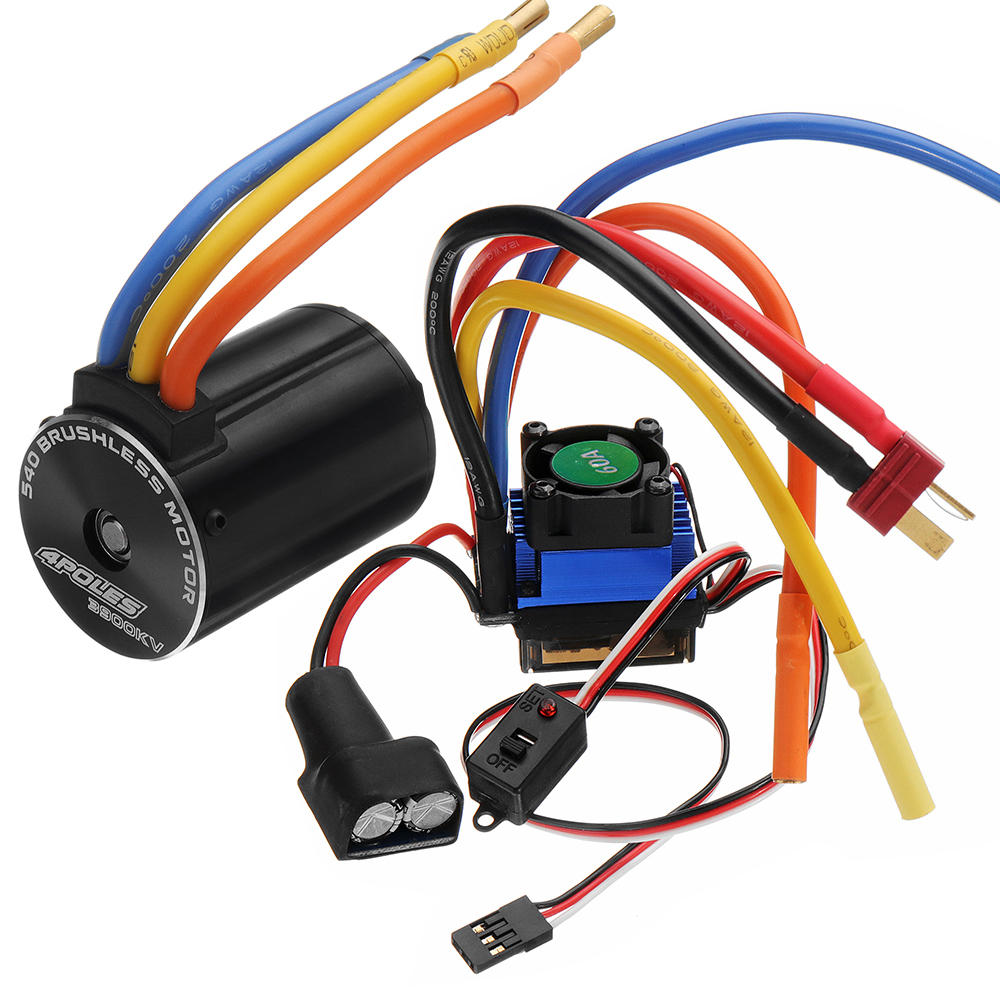 Rocket 540 Sensorless Brushless Rc Car Motor And 60A ESC For 1/10 On-road Off-road Truck