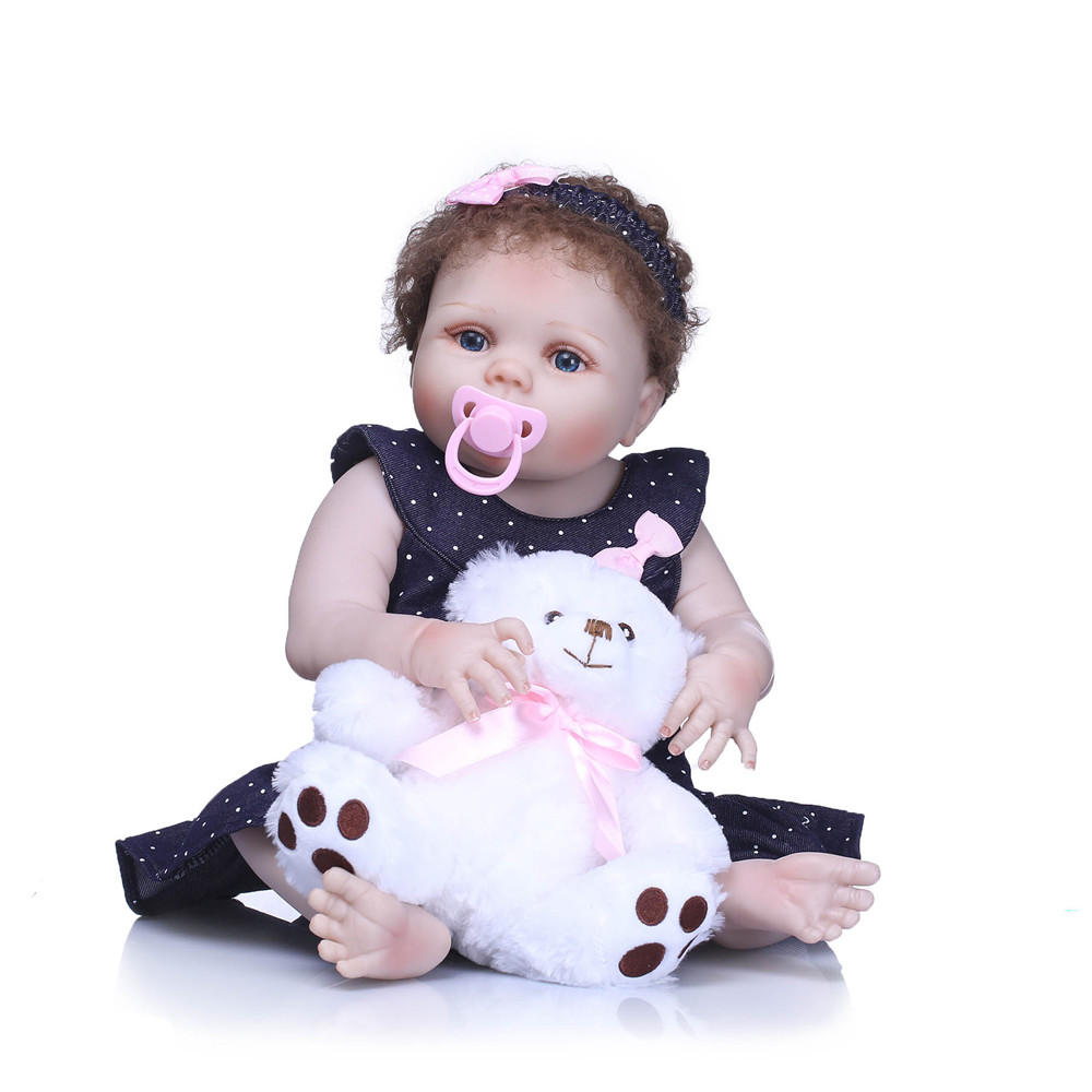 NPK 23Inch Body Lifelike Newborn Baby Girl Doll Black Real Life Infant Baby Doll Cuddle For Children