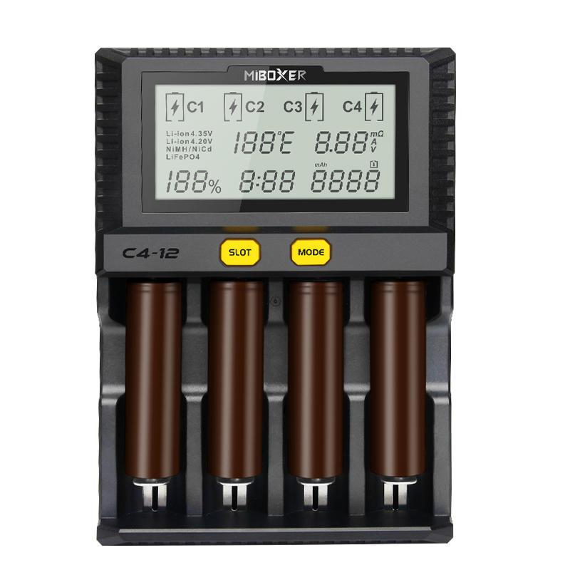 MiboxerNewC4-12LCDРегулируемоеинтеллектуальное зарядное устройство Батарея 4 слота несколько Батарея для 18650 2665