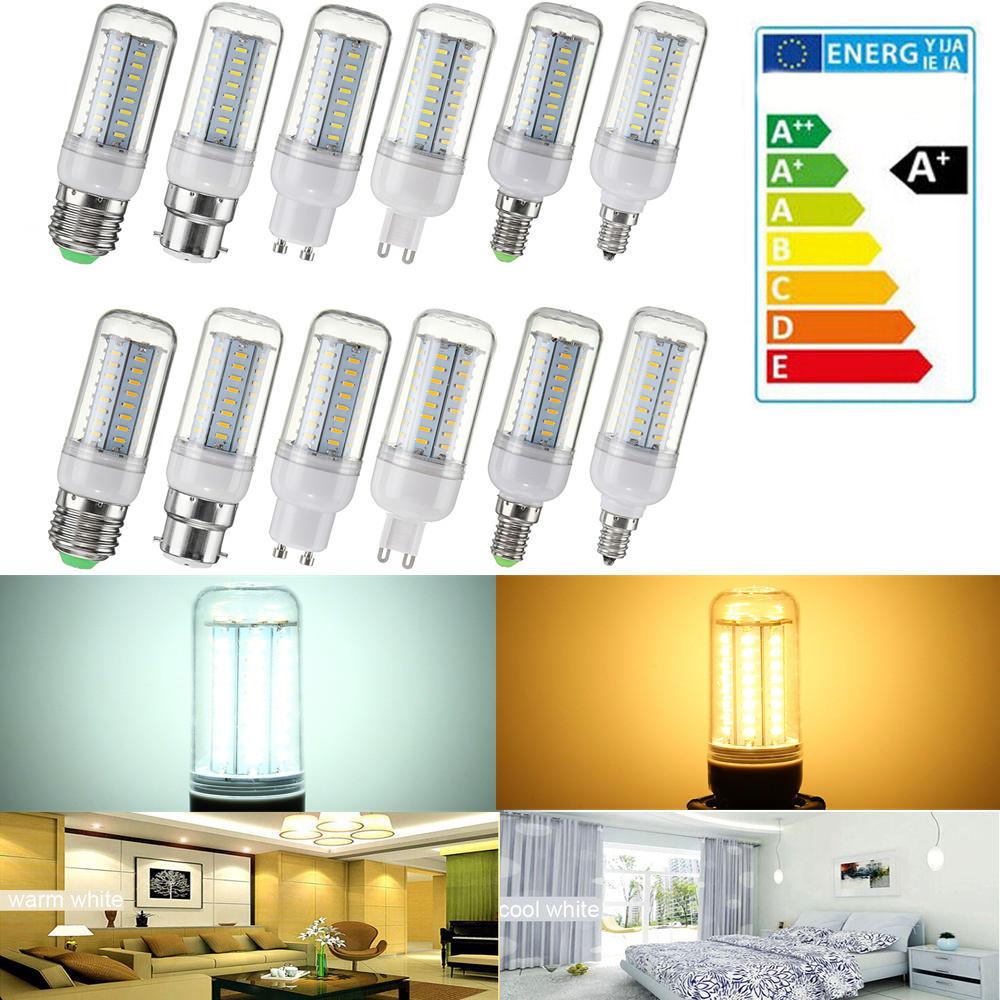 Dimmable AC110V SMD4014 5W 64LED lâmpada da luz do bulbo do milho E27 E14 E12 B22 GU10 G9