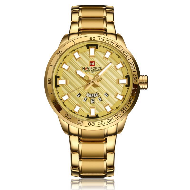 NAVIFORCE NF9090 Fashion Pria Quart Perhiasan Mewah Stainless Steel Sport Watch