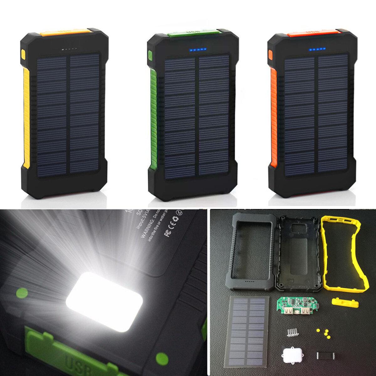 Bakeey F5 10000mAh सौर पैनल एलईडी दोहरी USB पोर्ट्स DIY पावर बैंक केस बैटरी चार्जर किट बॉक्स