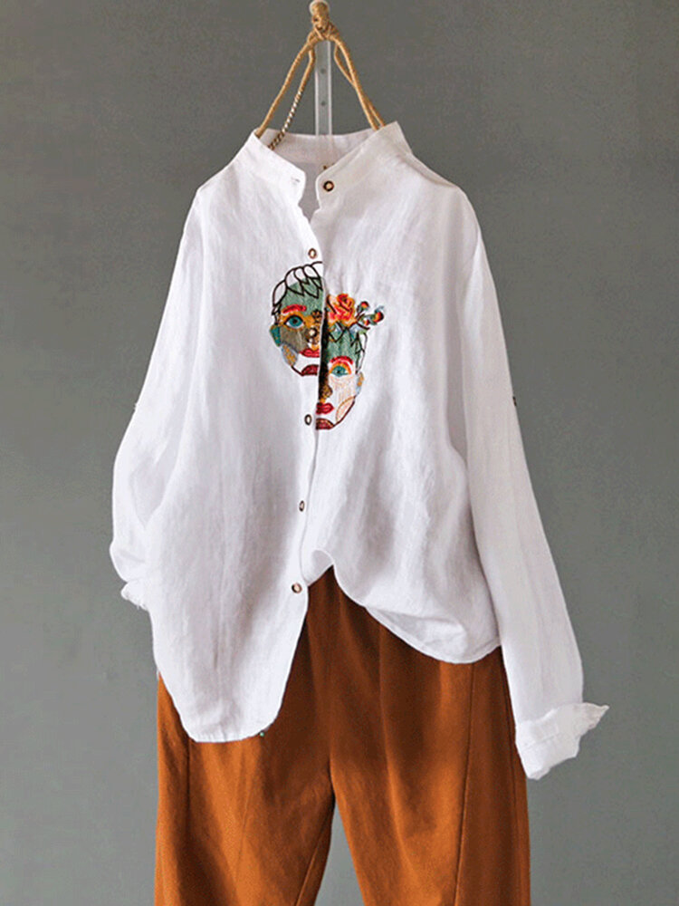 Chinese Style Embroidery Portrait Button Vintage Blouse