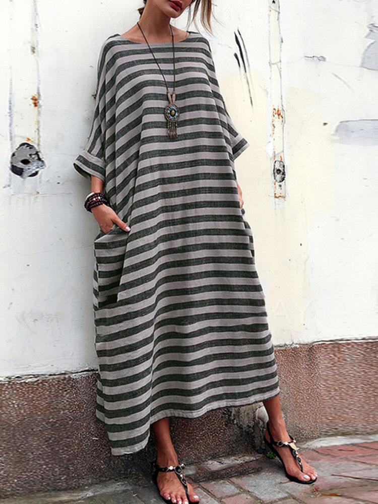 Plus Size Casual Crew Neck Batwing Sleeve Stripe Loose Dress