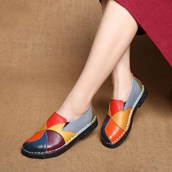 SOCOFY Ручная повседневная кожаная мягкая плоская обувь