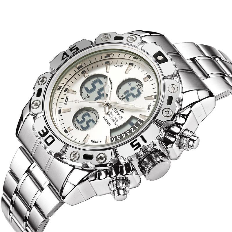 STRYVES8018МужчиныПолнаяСтальВодонепроницаемы Дата Недели Chrono Alarm Часы Двойной Дисплей Цифровые Часы