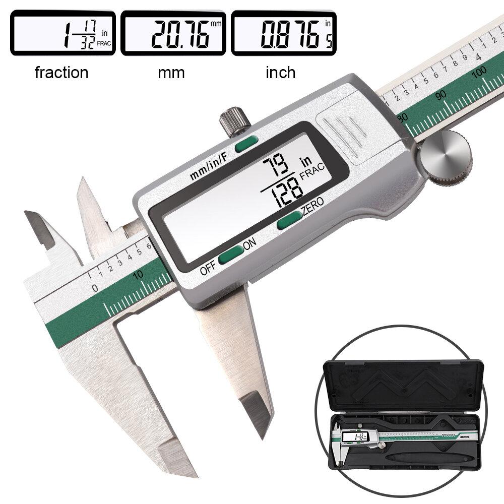 Compasso de calibre digital de aço inoxidável DANIU 150 mm 6 polegadas pol. / Métrico / conversão de frações 0,01 mm de