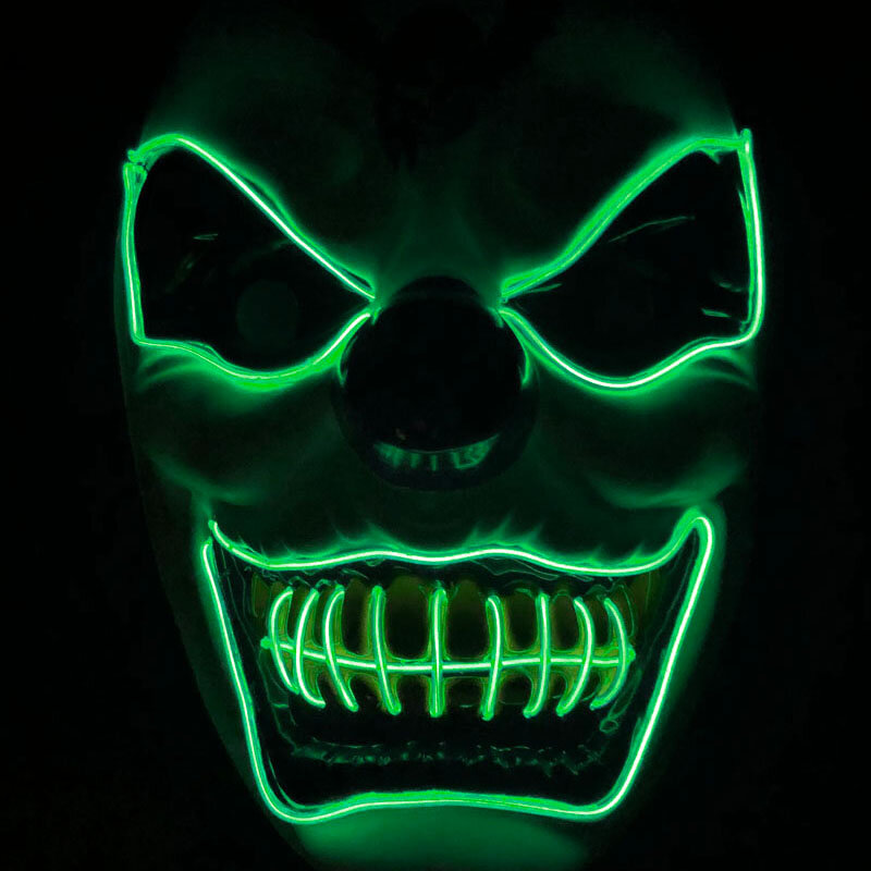 New Clown El Cold Light Glowing LED Fluorescent Mask Halloween Tricky Scary Spoof Horror Glowing Props