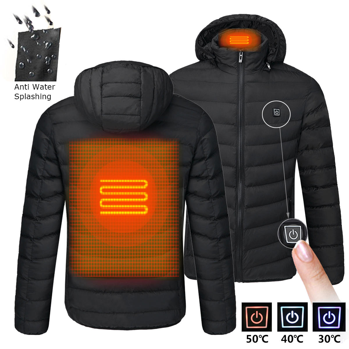 41e189f78 Mens USB Heated Warm Back Cervical Spine Hooded Winter Jacket Motorcycle  Skiing Riding Coat Women
