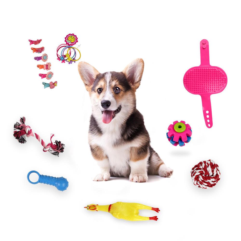 16pcs perros muelen sus dientes y juguetes de mordedura de sonido Screaming cuerno de pollo juguetes para mascotas