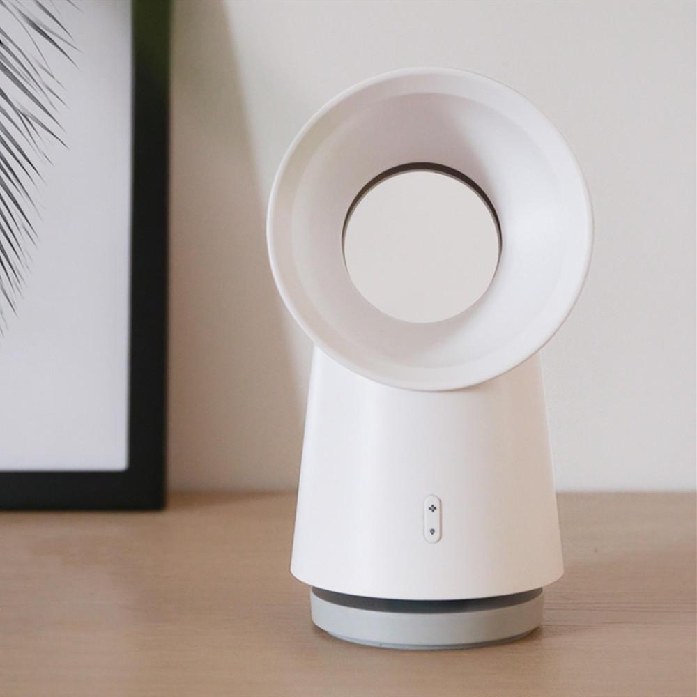 Wireless 3000mAh 2 In 1 Mini Cooling Fan Bladeless Desktop Portable Fan With LED Light 3 Speed Adjustable