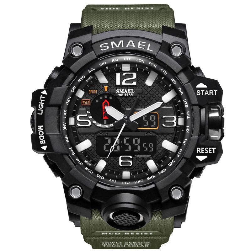SMAEL 1545 Banda de Color Puro impermeable Reloj Deportivo Analógico Digital con Doble Pantalla de Japón Reloj de Cuarzo
