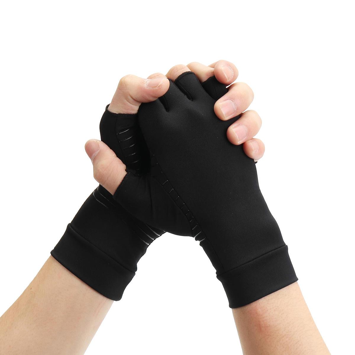 1 par medio dedo Guantes Anti Artritis Cobre Guante de alivio del dolor Protección de la mano Protector de entrenamiento