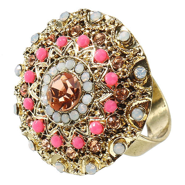 JASSY® Vintage Fine Rings 18K Gold Plated Big Decorated Light Smoked Topaz Diamonds Ring