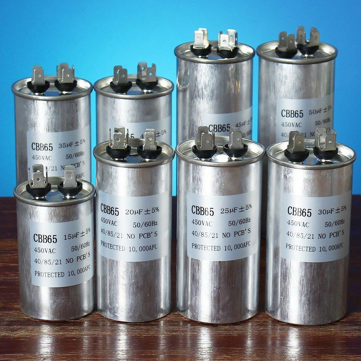 Condensateur Moteur 15-50uF Condensateur de démarrage du compresseur de climatisation CBB65 450VAC