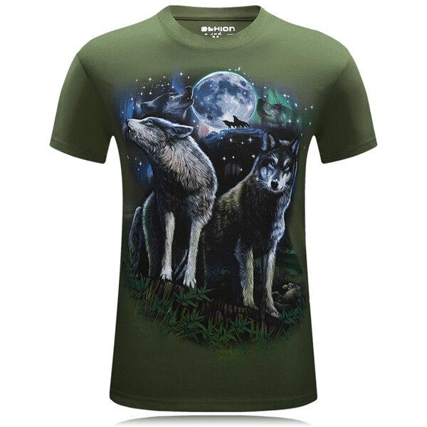 प्लस आकार एस -4 एक्सएल ग्रीष्मकालीन 3 डी वुल्फ पैटर्न प्रिंटिंग पुरुष टी शर्ट व्यक्तित्व लघु टीज़