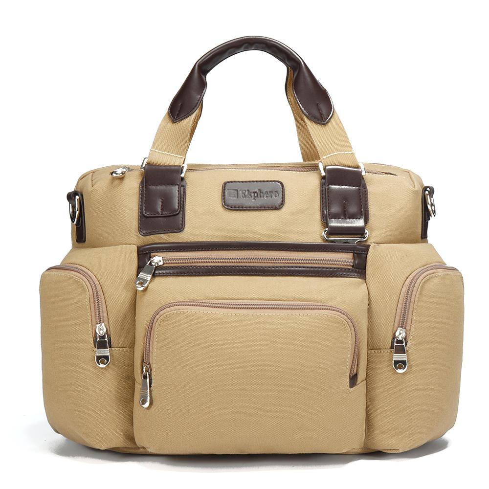 キャンバスビジネスカジュアル旅行ラップトップバッグ大容量マルチポケットハンドバッグクロスボディバッグ