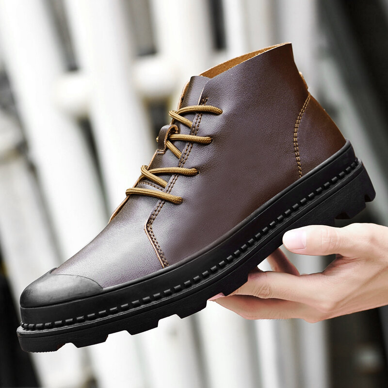 Men Brief Lace Up Patchwork Non-Slip Sofe Sole Casual Ankle Boots Martin Boots