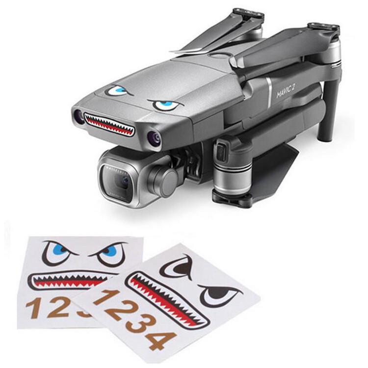Shark Emoticon Sticker Set Water-proof Skins Decals Decorative for DJI Mavic 2 PRO/ZOOM RC Drone Quadcopter